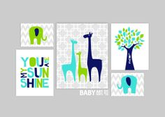 Navy Turquoise and Lime Green Nursery art prints by babyartprints, $49.00