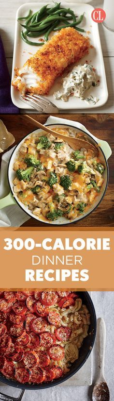 Here Are 70 Slim-But-Filling Dinners Sometimes one lower-calorie meal a day is all you need to get back on track. With the entrée delivering a slim 300 calories, you can always add sides like a salad, a glass of wine, or a scoop of frozen yogur 300 Calorie Dinner, Low Calorie Dinners, No Calorie Foods, Low Calorie Recipes, Healthy Recipes, Healthy Cooking, Healthy Eating, Cooking Recipes, Skinny Recipes
