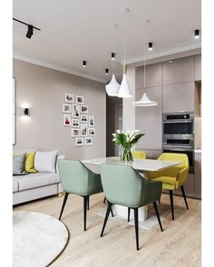 Arredamento salotto dogs for adoption - Dogs Yellow Dining Room, Dining Room Office, Dining Room Sets, Dining Room Design, Yellow Chairs, Small Apartment Interior, Interior Design Kitchen, Interior Design Living Room, Home Decor Kitchen