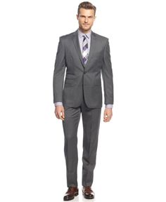 Vince Camuto Gray Textured 2-Button Flat Front Wool New Men's Suit (40R 33W)