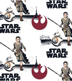 Star Wars VII Heroes in Squares Flannel 100/% cotton flannel fabric by the yard