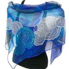 """Hand Painted Silk Scarf, Roses Garden, Floral, Purple, Gray, Royal Blue, 35"""" Square Silk Chiffon Scarf, Gift Under 50"""