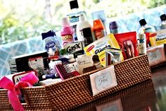 How To Make a Courtesy Basket - Courtesy baskets are small baskets full of toiletries and other necessities for your guests to utilize during their trips to the restroom. #wedding #weddingideas