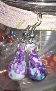"""grapes"" color drop bead earrings"