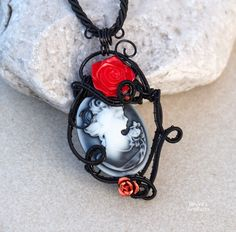Gothic necklace/Black wire wrapped pendant/Cameo necklace/Cameo pendant/Goth jewelry/Gothic pendant/ooak/Gift for her/Valentine's day gift by Ianira on Etsy