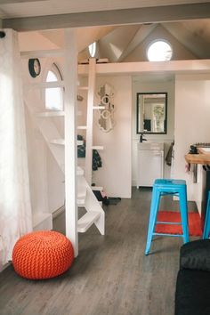 280sf Esket Tiny House on Wheels by Robert and Bettina Johnson  - love the stairs, the house feels whimsical and charming