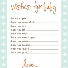 Wishes for the baby :) in blue, brown, grey, and yellow!