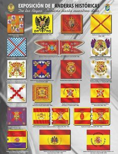 Historia de banderas de España Spain History, World History, County Flags, Map Symbols, The Spanish American War, Army Ranks, Country Maps, Mystery Of History, Flags Of The World