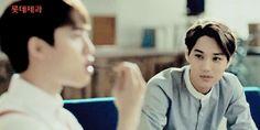 jongin watching kyungsoo eat the pepero