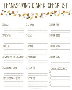 Thanksgiving Dinner Checklist Printable