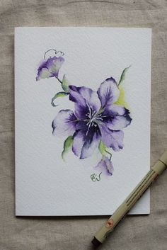 Purple Clematis Flower Watercolor Painted Card by SunsetPeonies