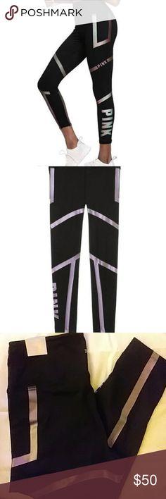 Pink Victoria Secret Iridescent Leggings NEW Purple hues on solid black pants. High Waisted Ankle tights PINK Victoria's Secret Pants Leggings