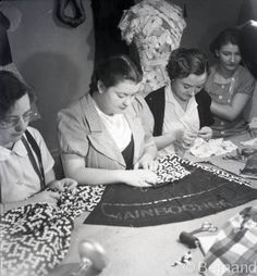 Dressmakers from Mainbocher working on Duchess of Windsor Trousseau, Candé, France 1937