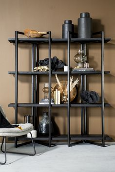 4 Shelf Bookcase, Shelves, Metallic Paint, Black Wood, Painting On Wood, Plank, Rustic, Furniture, Showrooms