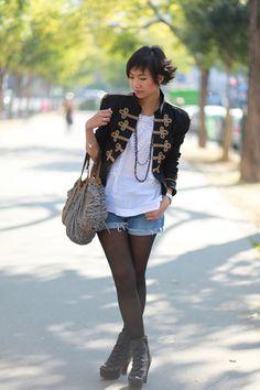Street Style Trend - Denim Shorts & Tights tights4.jpg