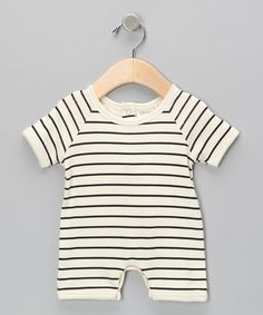 $24.99 reg 42 Look at this #zulilyfind! Neutral White & Black Stripe Organic Romper #zulilyfinds