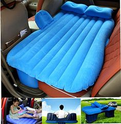 FLY5D Inflatable Car Mobile Cushion Seat Sleep Rest Mattress Air Bed Outdoor Sofa Mat Car Air Mattress Travel Bed Blue with Gear for Cars SUV MPV