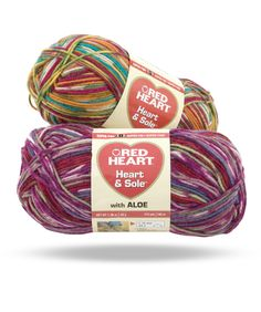 Heart & Sole -- This is not just another sock yarn. Heart & Sole is permeated with aloe vera which is known for many wonderful properties. Knitters and crocheters will find the added aloe vera helps the yarn glide smoothly on the needles or hook. It comes in both Fair Isle patterning and striping as well as solid shades. It's perfect for a wide range of projects.