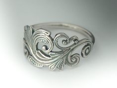 Classic Sterling Silver Art Nouveau Ring. Swirl Scroll Ring. $29.00, via Etsy.