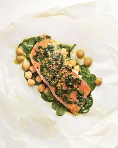 Salmon with Spinach and Chickpeas - Martha Stewart Living Eat Well