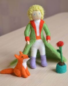 Little prince doll Needle felted Little prince figurine Felt boy fox rose planet Antoine de Saint-Exupéry Storytelling playset toy for kids Needle Felted Animals, Felt Animals, Needle Felting, Felt Fox, Wool Felt, Little Prince Fox, Felt Puppets, Felt Fairy, Felt Dolls