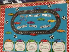 Our NEW SPRING ATTENDANCE CHARTS! I am excited to share our NEW ATTENDANCE CHARTS with you. I decided to do a RACE TRACK Theme. ... Attendance Board, Attendance Tracker, School Attendance, Toddler Sunday School, Daycare School, Toddler Class, Kids Class, Bible Bulletin Boards, School Bulletin Boards
