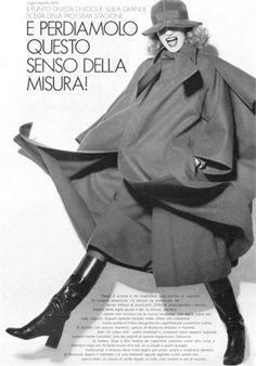 1974 - Karl Lagerfeld 4 Chloé coat dress by Bugat 4 Vogue 70s Fashion, Fashion History, Fashion Photo, Vintage Fashion, Fashion Outfits, Fashion Black, Fashion Ideas, Studio 54 Disco, Karl Lagerfeld