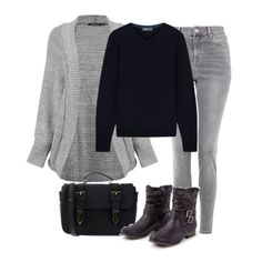 Black sweater+grey skinny jeans+grey knit cardigan+black boots+black crossbody bag. Winter to Spring Casual Outfit 2018