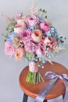 38 Ideas For Flowers Wedding Bouquet Pastel Floral Arrangements Bouquet Pastel, Bridal Bouquet Blue, Peony Bouquet Wedding, Bridal Flowers, Blue Bridal, Bouquet Flowers, Pastel Flowers, Rainbow Bouquet, Flowers Uk