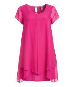 Look at this #zulilyfind! Magenta Amuse Chiffon-Overlay Sidetail Dress - Plus #zulilyfinds