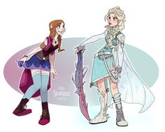 Anna & Elsa [both as Final Fantasy] (As Video Games by Skirtzzz @deviantART) #Frozen