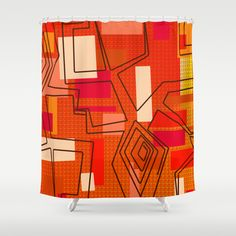 The+Hat+Dance+Shower+Curtain+by+Vikki+Salmela+-+$68.00 #retro #60's #geometric #orange #red #dance #art for #home #apartment #hotel #decor #accessory for #bathroom #shower #curtain from #Society6