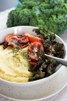 Creamy Polenta with Roasted Thyme Tomatoes and Crispy Kale