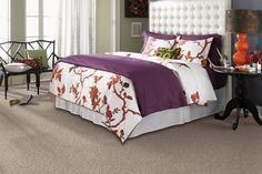 Orange & purple are unique and beautiful color combinations. Softly Inspired III - Mineral in Mohawk #Flooring #Carpet