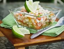 High in flavor, low in calories, packed with protein. Great as a snack or meal. This ceviche recipe is what you want in a recipe, and it's easy to make. Shrimp Avocado Salad, Avocado Salad Recipes, Seafood Ceviche, Peruvian Ceviche, Mexican Food Recipes, Ethnic Recipes, Mexican Desserts, Drink Recipes, Canela