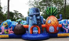 Rent a spongebob toddler obstacle today, perfect for both boy and girls in Houston, TX. Delivered on-time & clean. Bounce House Birthday, Baby Boy 1st Birthday, Diy Birthday, Toddler Bounce House, Inflatable Water Park, Inflatable Rentals, Toddler Obstacle Course, Piscina Playground, New Spongebob