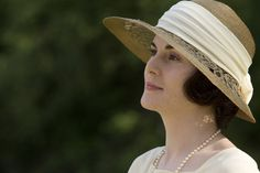 I love this sun hat the pretty design on the brim and the cream sash  - lady Mary season 3 downton abbey