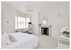 My home: all white bedroom, London