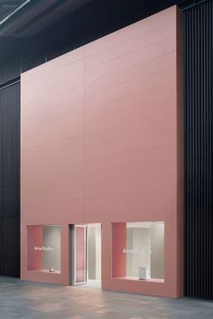 """unveils its newest store in Chengdu, China.  """"The new store is a modern mix of Acne Studios' home in Stockholm and Chengdu. Architecture Design, Minimalist Architecture, Facade Design, Exterior Design, Chengdu, Stockholm, Retail Facade, Retail Store Design, Store Front Design"""