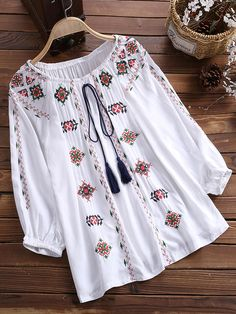 Vintage Women Cotton Flower Embroidered Off Shoulder Elastic Loose Blouse BazaCenters. Kurta Designs, Blouse Designs, Stylish Dresses For Girls, Dressing, New Fashion Trends, Embroidered Flowers, Embroidered Tops, Blouse Styles, Clothing Items