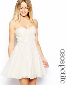 Image 1 of ASOS PETITE Bandeau Dress With Twisted Bodice