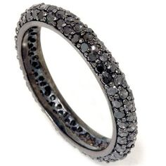 Wouldn't mind this as a wedding band ;) ...Black Diamond Pave Eternity Ring 110CT Womens Black by Pompeii3, $399.00