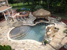 Pool and Fire Pit built by Paradise Aquatics #haywardpinyourpool