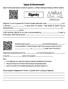 Introduction to government lesson plans cover types of government types of government qr code activity fandeluxe Gallery