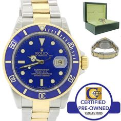 2003 Rolex Submariner 16613 T Two Tone Steel 18k Gold Blue SEL No Holes Watch  Collectors Brand                                Rolex (Guaranteed Authentic) Mode