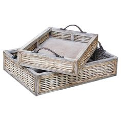 These teak wood and wicker trays are perfect for setting out cocktails at your next soiree or keeping an end table organized. Let them do double duty as deco...