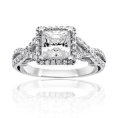 Reis-Nichols Jewelers : Verragio Diamond Engagement Ring : square diamond with halo