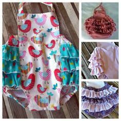Baby Girl Sunsuit, Children Clothing, Retro Bird Bubble Romper, Cottage Chic Children, Ruffle Sunsuit, Vintage Summer, Beach Swimsuit