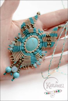 "Micro macrame pendant ""Sounds of the Sea"". Macrame pendant. Macrame necklaces with moonstone and aquamarine. Macrame jewelry with gemston"