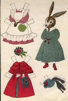 Mrs Bunny / Rabbit Family Paper Doll by Laura Sackett Decoupage Vintage, Vintage Paper Dolls, Antique Dolls, Paper People, Paper Animals, Paper Toys, Printable Paper, Easter Crafts, Kid Crafts